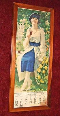 1921 Coca-Cola calendar~all months except Jan.~metal top strip~framed
