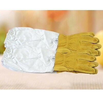 XXL Beekeeping Beekeepers Bee Gloves White Goat leather with Vented Long Sleeves