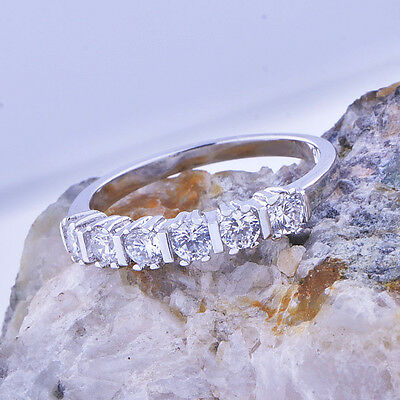 Womens silver plated square crystal eternity love wedding promise Ring size 6 8
