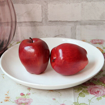 Artificial Red Delicious Apples Fruit Plastic Round Fake Faux