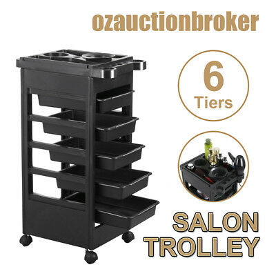 6 Tiers Hairdresser Salon Spa Multifunction Hair Trolley Rolling Storage Cart