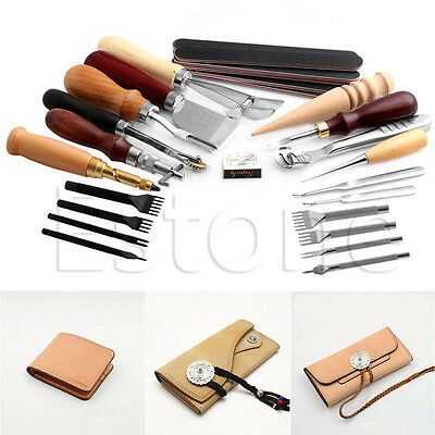 1Set Leather Craft Punch Tools Stitching Carving Working Sewing Saddle Groover