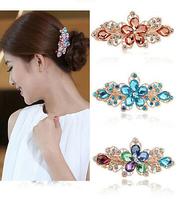 Women Crystal Rhinestone Flower Hair Barrette Clip Hairpin Fashion Jewelry New