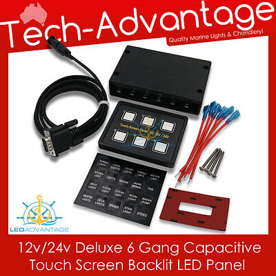 12V 6 Gang Led Back Lit Touch Screen Boat/caravan Dashboard Night Switch Panel