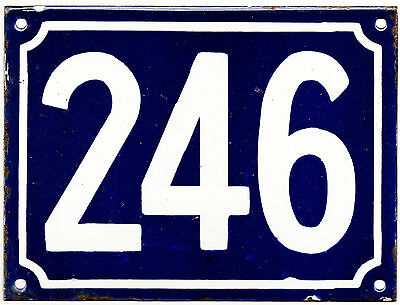 Large old blue French house number 246 door gate plate plaque enamel metal sign