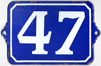 Large old blue French house number 47 door gate plate plaque enamel steel sign