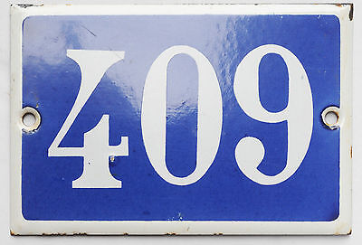 Old French house number 409 door gate plate plaque enamel steel metal sign