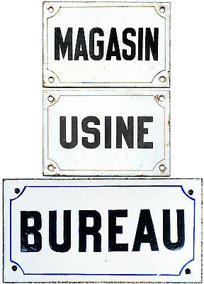 Old French building enamel wall door gate sign notice Shop Factory Office Bureau