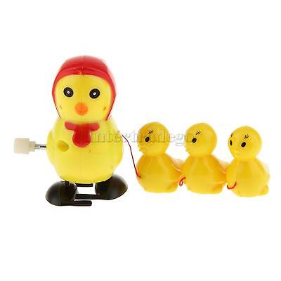 Wind up Hopping Chick Mechanical Toys Move Walking Yellow for Bbay and Kids