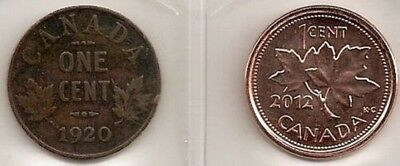 First And Last Small Cent Canadian/canada Coins 1920 And 2012
