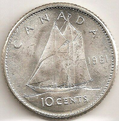 1961 Silver Canada/Canadian 10 Cent Coin Silver UNC FROM ORIGINAL ROLL