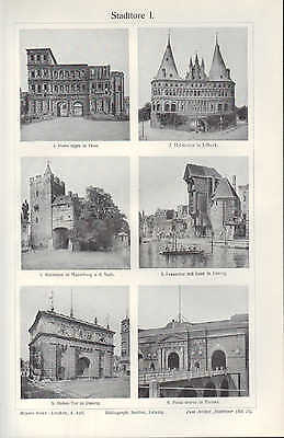 Lithografie 1909: Stadttore. I/II. Stadt Danzig Trier Verona Tor Standal Laon