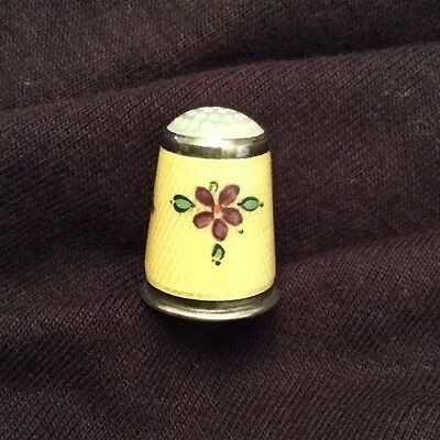 Antique Guilloche Enamel Thimble Opalescent Sterling Silver Yellow Purple Flower