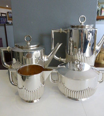 Wollenweber Stamped 0.800 Silver Tea Set of (4) Germany Art Deco Style 45.75 ozt