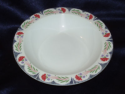 "2 Poole England Kimmeridge 10"" Dinner Plates Red Flowers Blue Lines Green Leaves"