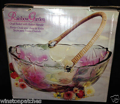 Indiana Glass Rainbow Garden Oval Basket Bowl With Rattan Handle In Original Box