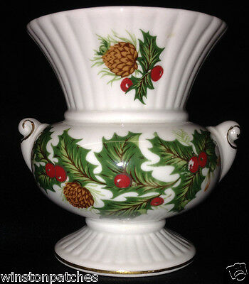 """Rosina Queen's China Yuletide Scalloped Urn Vase 3 1/2"""" Holly & Berries"""