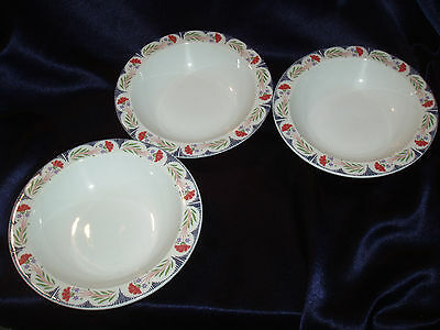 3 Poole England Kimmeridge Soup/cereal Bowls Red Flowers Blue Line Green Leaves