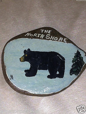 Horgan North Shore Hand Painted Stone Or Rock With Bear & Pine Tree Minnesota Mn
