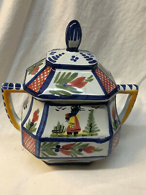 Henriot Quimper France Mistral Blue Octagonal Sugar Bowl Blue Trim Woman Flowers
