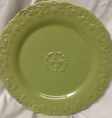 Home Essentials & Beyond Madison Collection 2 Antique Green Dinner Plates Emboss