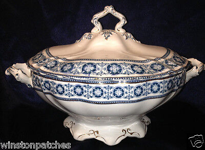 Bishop & Stonier England Roden Blue Covered Tureen & Lid Gold Trim