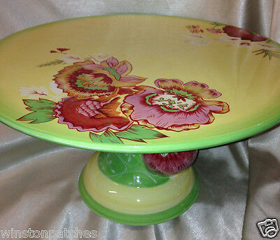 "Tracy Porter Lemon Chiffon Collection 12"" Pedestal Cake Stand Bird Floral"