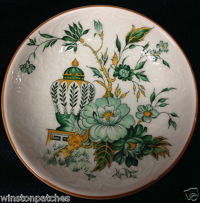 "Crown Staffordshire Kowloon Butter Pat 3 5/8"" Green Flowers & Urn"