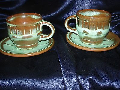 Frankoma Pottery 2 Cups Saucer Wagon Wheel Prairie Green Brown Embossed 94C 94E