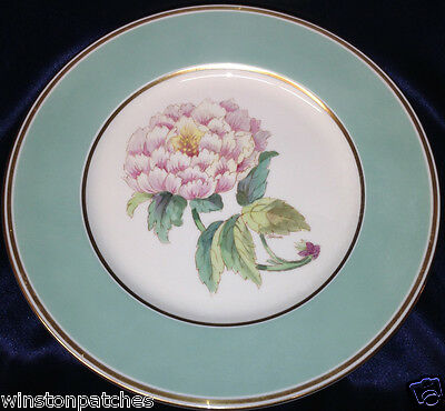 """Pickard 1019-104 Peony Pink Flowers Pale Green Band 10 1/2"""" Dinner Plate Gold"""