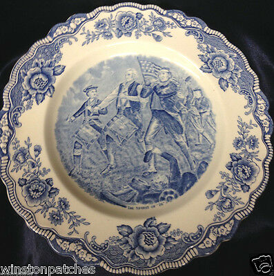 "Crown Ducal Colonial Times The Spirit Of ""76"" Dinner Plate 10 1/4"" Blue & White"