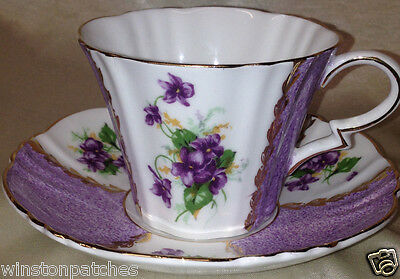 Royal Standard England 1614 B Flat Cup & Saucer Purple Violet Flowers & Panels