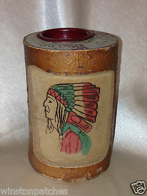 Hibbing Minnesota Vintge Souvenir Wood Branch Carved Coin Bank Indian Chief Head