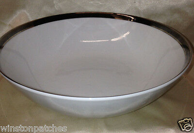 "Fashion Royale Japan Elegance 8 7/8"" Round Serving Bowl Platinum & Black Rings"