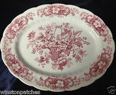 "Ridgway England Old English Bouquet Oval Platter 12"" Red Flowers Basket Scrolls"