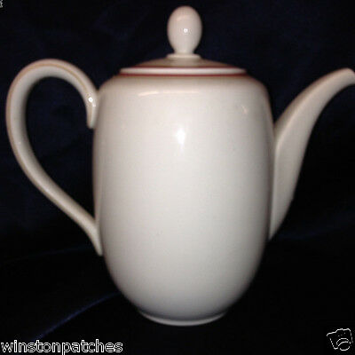 Hutschenreuther 7395 Coffee Pot 8 Cup Red Tan Stripes Turvel Shape Roter Rand