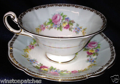 E B Foley England 3238 Footed Cup & Saucer 6 Oz Blue Bands Flowers & Pink Roses