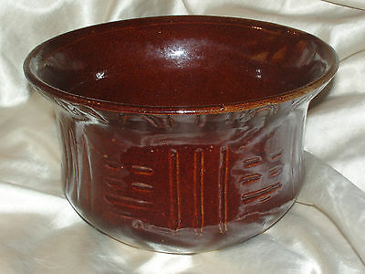 Robinson Ransbottom Antique Brown Jardiniere Bowl Cut Geometric Lines Roseville