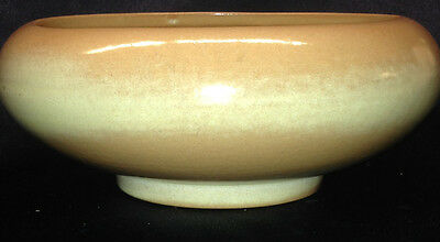 "Frankoma Plainsman Desert Gold Tan Footed Round Bowl Planter 8"" By 3"""