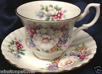 Royal Albert Summertime Series Sherborne Footed Cup & Saucer 8 Oz Gold Trim