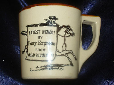 Monmouth Western Stoneware Mug Latest News Pony Express Gold Diggings Wsc Horse