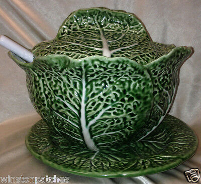 Bordallo Pinheiro Embossed Cabbage Green Tureen Ladle & Under Plate Frog Label