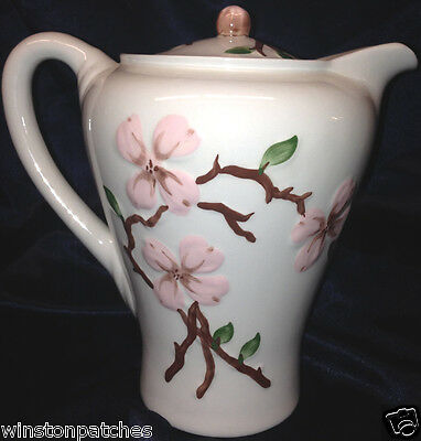Orchard Ware Pink Dogwood Coffee Pot & Lid Gray Background California Pottery