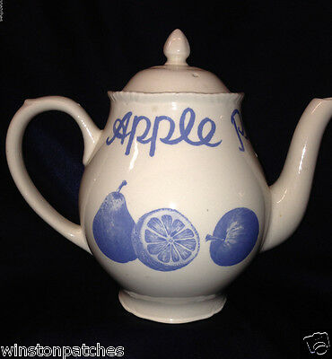 Wood & Sons England Country Blue Teapot 42 Oz Apple Pear Orange Fruit In Blue