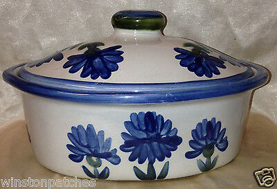 Louisville Stoneware Bachelor Button Oval Covered Casserole Dish Blue Flowers