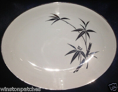 "Aladdin Japan Ala26 10"" Oval Serving Bowl Platinum Bamboo Leaves & Trim"