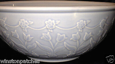 "Block Gear Japan Whisper 1998 Lavender 8 1/2"" Vegetable Bowl Embossed Tulips"