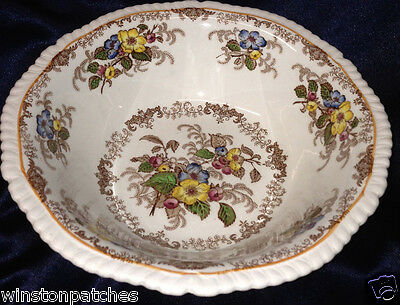 "Ridgways England Apple Blossom 8 1/4"" Round Vegetable Bowl Blue Yellow Flowers"