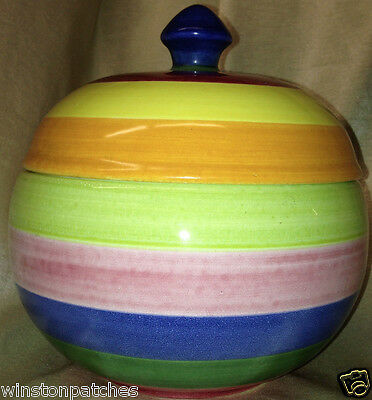 Geo Martel Desvres France Hand Painted Covered Bowl Candy Dish Multicolor Bands
