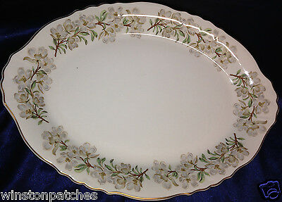 """Syracuse China Orchard 16"""" Oval Serving Platter Flowers Green Leaves Branches"""